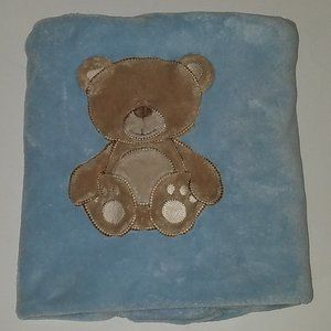 Bright Future Blue Baby Blanket Brown Teddy Bear
